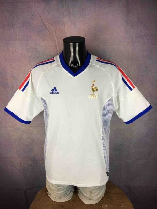 Maillot FRANCE, Marque Adidas daté de 01/02, Saison 2002 – 2003, version Away, Technologie Climalite, Made in Tunisia, World Cup Jersey Football FFF Homme