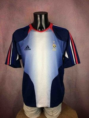 Maillot FRANCE, saison 2003 2004, de marque Adidas daté 11/03, Technologie ClimaCool, Version Entrainement, TrainingFFF Euro Team Jersey Camiseta
