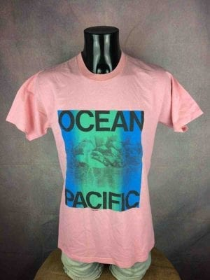 T-Shirt OCEAN PACIFIC, Véritable vintage Années 80, Made in USA,  Surf Check Montabert Sunwear Old School