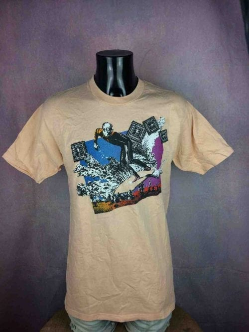 T-Shirt Vintage Ocean Pacific, Années 80, Made in USA, Taille M, Couleur Rose, Surf Check Montabert Sunwear Old School Homme