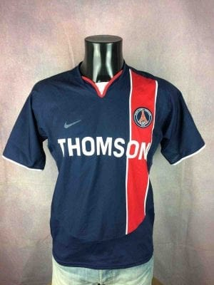 Maillot PSG, Saison 2003 2004, Version Home, Marque Nike, Made in Bulgarie, Véritable vintage années 00, Paris Saint Germain Thomson Ligue 1 Jersey Camiseta Football