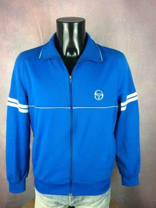 Veste Sergio Tacchini, véritable Vintage années 80, Made in Italy,Taille M, Couleur Bleu et Blanc, Tennis Sport Homme