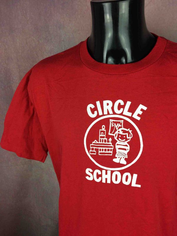 CIRCLE SCHOOL T Shirt Vintage 80 Made in USA Gabba Vintag 3 scaled - CIRCLE SCHOOL T-Shirt Vintage 80 Made in USA