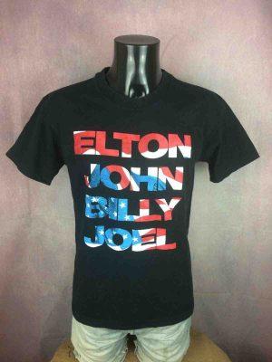 T-Shirt ELTON JOHN BILLY JOEL, éditionUS Tour 1994, double face avec liste des dates, marque Gem, Made in USA, Véritable vintage année 90s, Concert