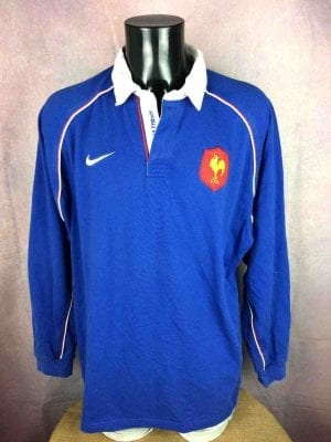 Maillot FRANCE , Saison 2002, modèle Home, de marque Nike Team, Véritable vintage années 00, Manches longues, Tournoi FFR Quinze XV, Jersey Rugby
