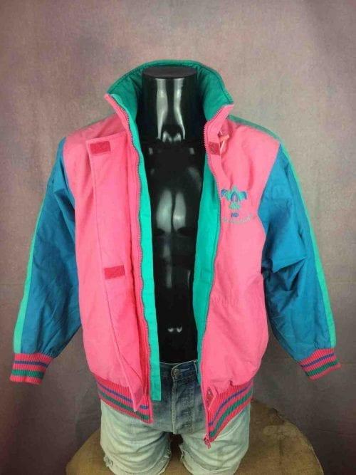 Veste Ski Vintage, Marque Henri Duvillard, Made in France, Véritable Années 90, Modèle Boosted Eagle, Taille L, Couleur Rose et multicolore, Ski Homme