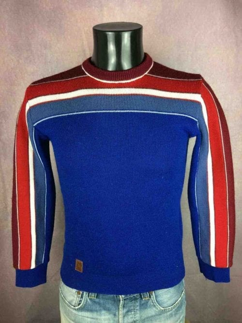 Pull Vintage Montant, Véritable Années 90s, 50% Laine, Made in Italy, Taille S, Couleur Bleu - Blanc - Rouge, Pullover Lanerossi Ski Homme