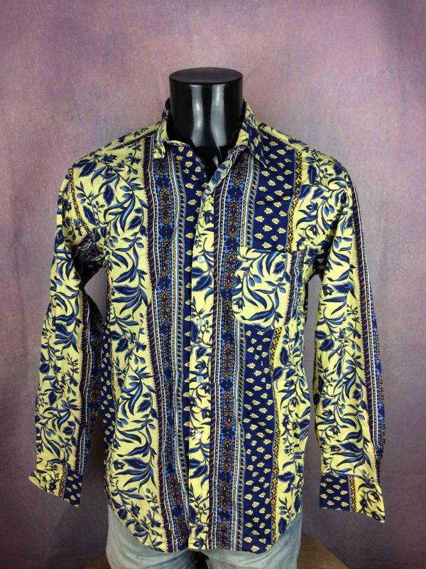 Chemise Provence Vintage, Années 90s, Fermeture par Boutons Nacres, Gardian Camargue Sud Feria Shirt Homme