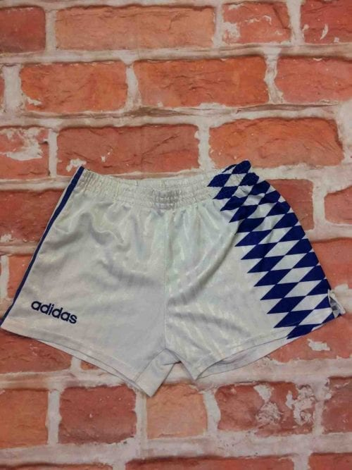 ADIDAS Shorts, Véritable vintage années 90s, Made in Tunisia, 3 bandes et losanges, Taille S, Couleur Bleu et Blanc, Football OM Sports Homme