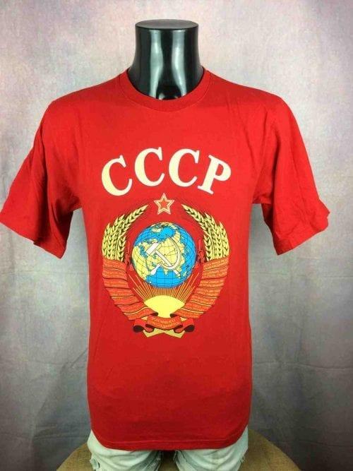 T-Shirt CCCP, Véritable vintage années 80s, Made in Uzbekistan, Marque Bunker-Buba, Dos imprimé, Union Soviétique Russie Etoile RougeURSS