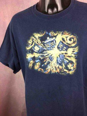 T-Shirt Doctor Who, Année 1996, Licence officielle BBC, Marque Gildan, Véritable Vintage Années 90, Taille XL, Couleur Bleu, Television Series Logo Peinture RareHomme