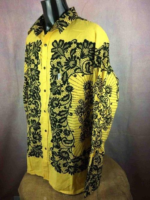 Chemise Provence de marque MISTRAL - Les Indiennes de Nîmes, Epoque contemporaine, Taille 2XL, Jaune et Noire, Gardian Camargue Sud Feria Shirt