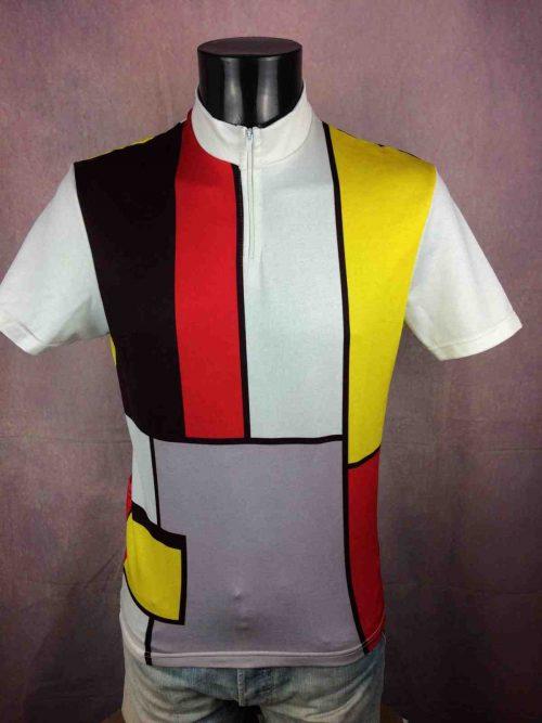 Maillot Soffac, Véritable Vintage Années 90, Made in France, Taille M, Couleur Multicolore, Mondrian Eroica Vie Claire Homme