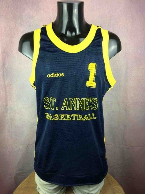 MaillotADIDAS, Floqué #1 St Anne'sBasketball, Véritable vintage années 90, Made in Thailand, Porté en match, USA Jersey