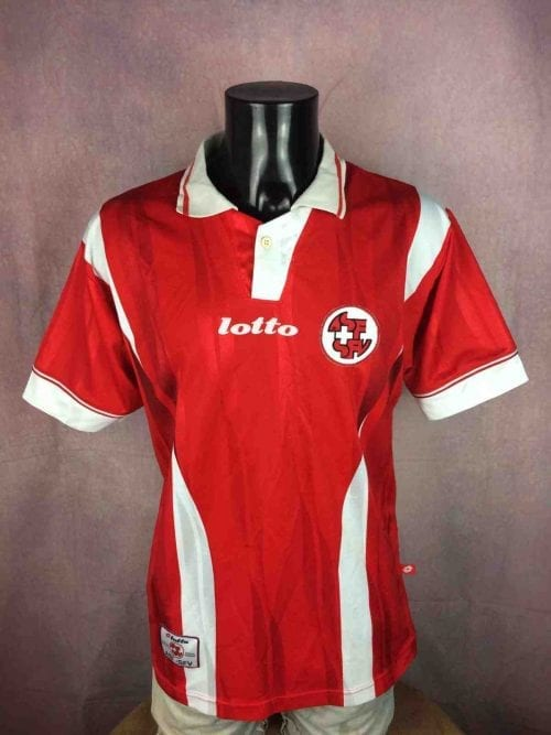 Maillot Suisse, marque Lotto, Série Calcio Italia, version Home, saison 1997 – 1998, Made in Italy, Véritable Vintage, Taille L, Couleur Rouge et Blanc, ASF-SFV Swiss Switzerland Jersey Football Homme