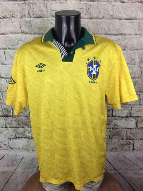 BRESIL Maillot, Saison 1991 1993, Version Home, Marque Umbro, Véritable vintage années 90, Brasil Brazil CBF Selecao, Jersey Camiseta Football