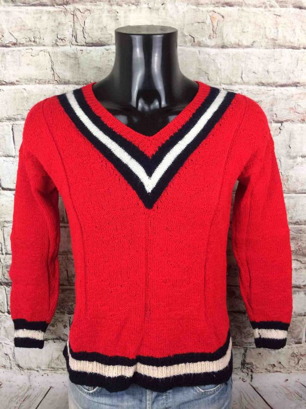 VINTAGE 80s Pullover Tricoté Main V Unisex - Gabba Vintage