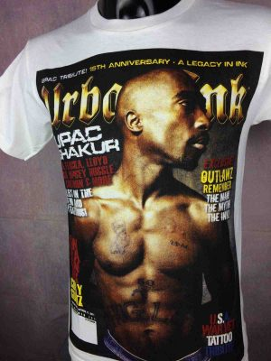 T-Shirt 2PAC, édition Urban Ink, marque Fusion, Tupac Shakur Tribute Hip Hop West Coast Gangsta Tattoo