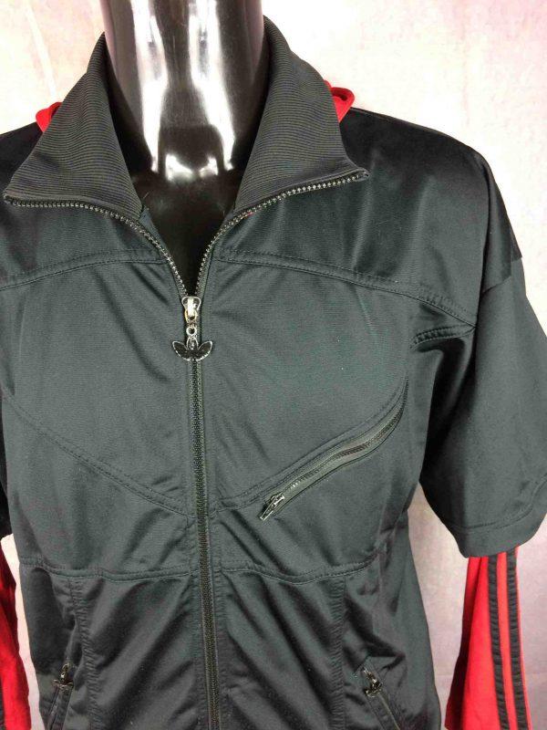 ADIDAS Jacket Hood Vintage 90s Big Trefoil Gabba Vintage 2 scaled - ADIDAS Vintage Années 90s Veste Capuche Noir