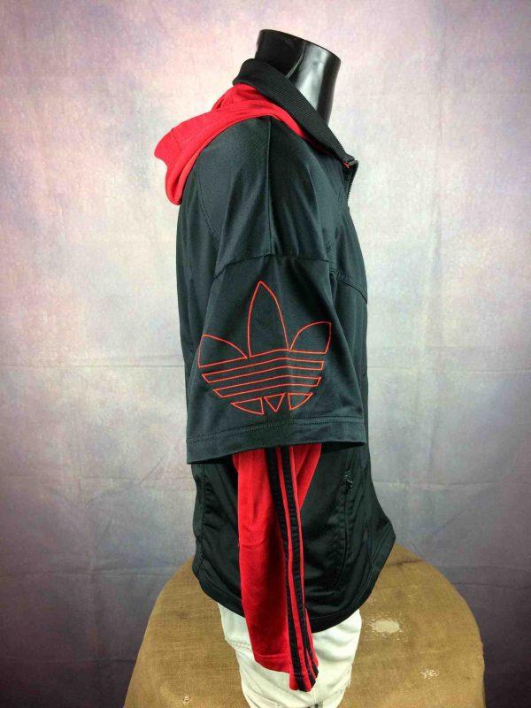 ADIDAS Jacket Hood Vintage 90s Big Trefoil Gabba Vintage 6 1 scaled - ADIDAS Vintage Années 90s Veste Capuche Noir