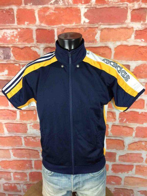 VesteVintage ADIDAS, véritable vintage années 90s, manches courtes, Taille S, Couleur Bleu, Blanc, Jaune,Made in Taiwan, Warm up entrainement échauffement, Basketball Training Hip Hop Homme