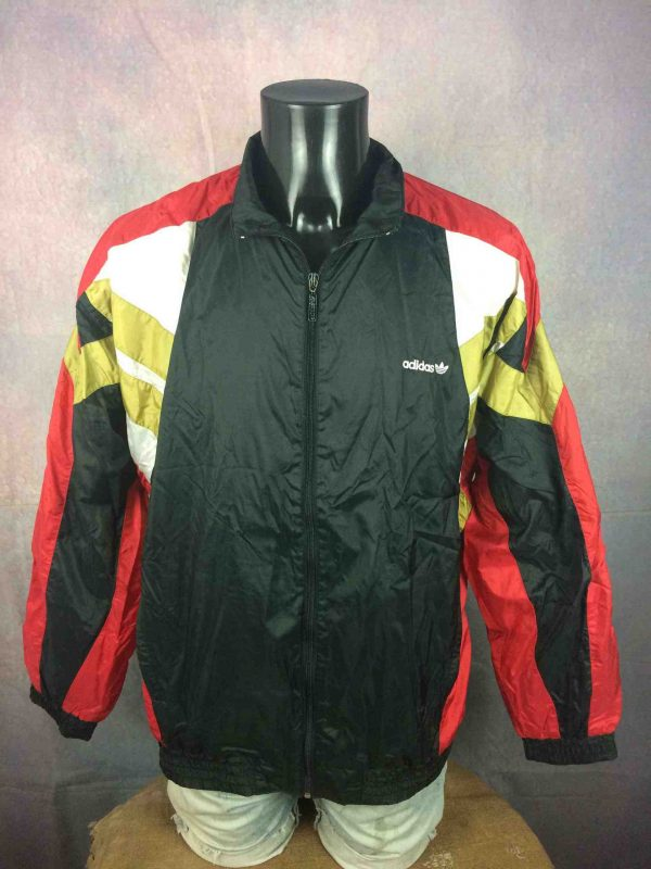 Veste ADIDAS Windbreaker, Made in Taiwan, Véritable vintage années 90, Trefoil Nylon Or Sport Rave Street Coupe-Vent
