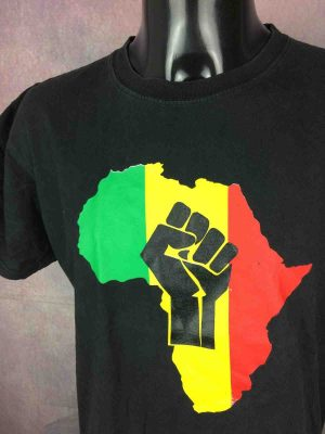 T-Shirt AFRICA, double face avec visuel identique, marqueReggae, Rasta Power Fist Freedom Jah Marley Lion Judah Rude Studio