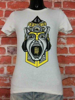 T-Shirt BASSDROP, édition Drop Wear Chapeau Rouge, marque Earth Positive, Rave EDM Electronic Dance Music
