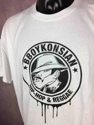 T-Shirt BBOYKONSIAN, édition Hip Hop Reggae, double face avec logo au dos, marque Superior, Hardcore Street France Alternatif Sound Rap  Concert