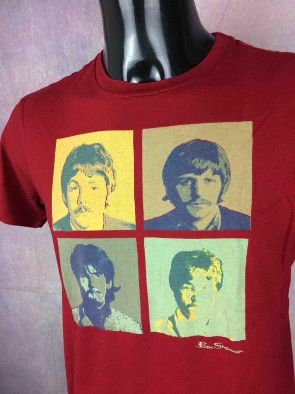 T-Shirt The Beatles, marque Ben Sherman, années 2010, Official License, Concert Lennon Ringo Starr McCartney Harrison Warhol