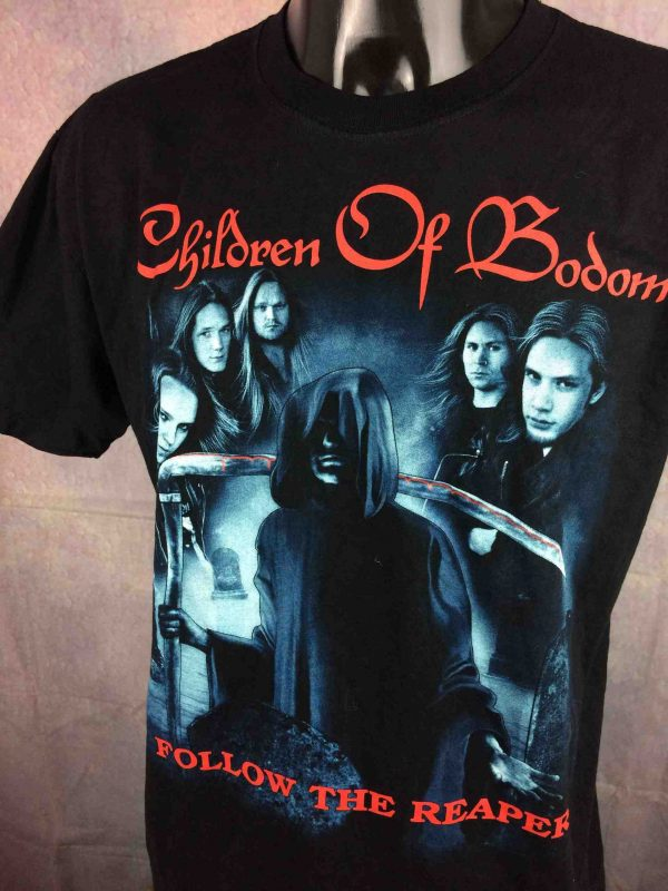 T-Shirt CHILDREN OF BODOM, édition Follow The Reaper, double face avec logo au dos, Official License, marque RockOTees, Finnish Melodic Death Metal Band