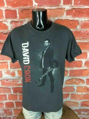 T-Shirt DAVID COOK, édition The Declaration Tour 2009, double face avec liste des dates au dos,American Idol Concert Rock Concert