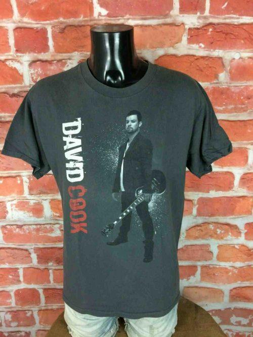 T-Shirt DAVID COOK, édition The Declaration Tour 2009, double face avec liste des dates au dos,Taille M, Couleur Gris, American Idol Concert Rock Homme