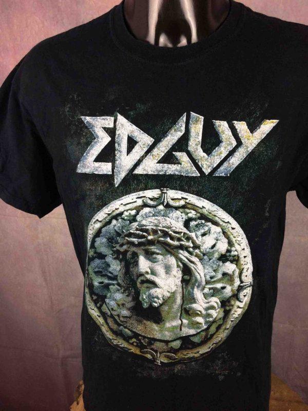 T-Shirt EDGUY, édition Tinnitus Over Europe 2010 Tour, double face avec liste des dates au dos, marque Gildan, Concert Heavy Metal