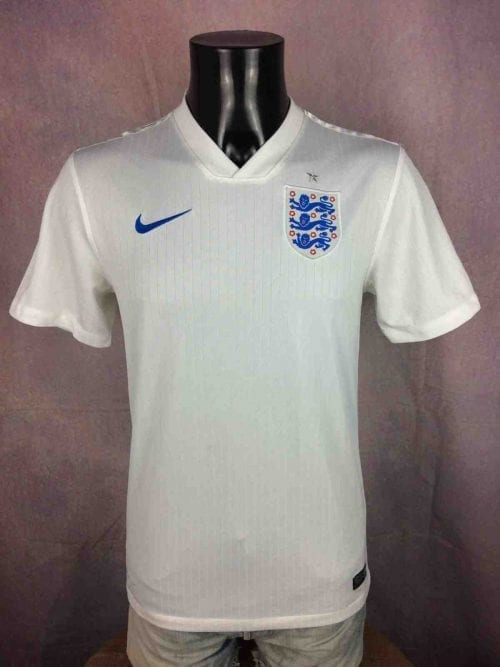 Maillot Angleterre, Saison 2014 2016, Version Home, Marque Nike, Technologie Dri-fit, Taille S, Couleur Blanc et Bleu, World Cup Jersey England Football Homme