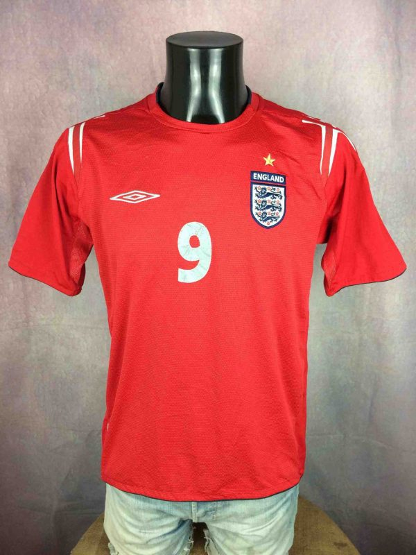 ENGLAND Jersey Umbro Rooney 9 2004 2006 Gabba Vintage 2 scaled - Maillot Rooney Umbro England #9 2004 Football