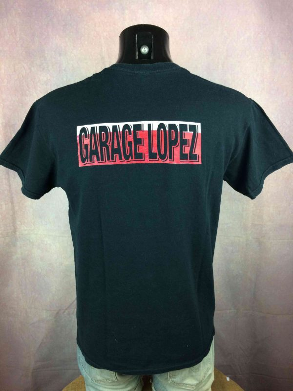 GARAGE LOPEZ T Shirt Logo Double Sided Punk Rockn Roll Hardcore V8 Motors Black Gabba Vintage 1 scaled - GARAGE LOPEZ T-Shirt Logo Punk Rock V8 Motors