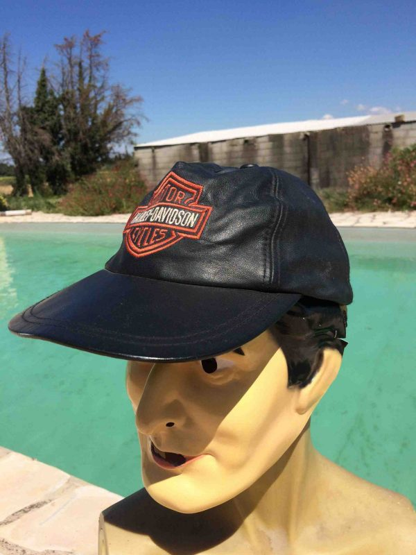 HARLEY DAVIDSON Casquette Official 90s Cuir Gabba Vintage 3 scaled - HARLEY DAVIDSON Casquette Official 90s Cuir
