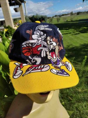 CasquetteHOUSTON ROCKETS, personnages Taz et Bugs Bunny, véritable vintage années 90s, Made in Korea, Official License Product NBA, Top Cap Gorra Hat