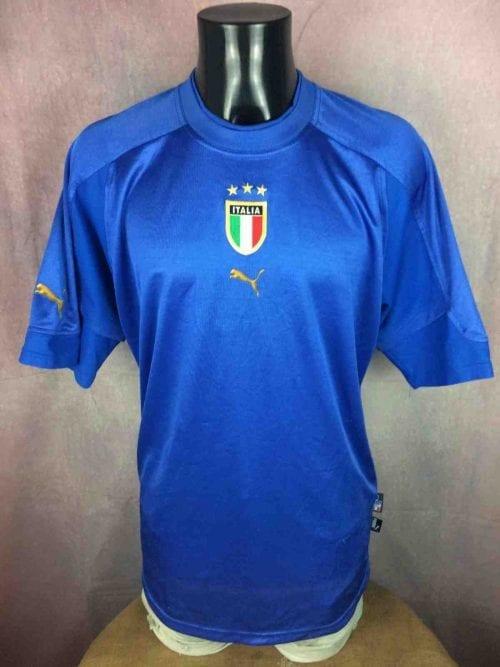 MaillotItalie, Saison 2004 2006, Version Home, Marque Puma,Véritable Vintage, Taille L, Couleur Bleu, Euro Cup 2004, Jersey Italia Italy Football Homme