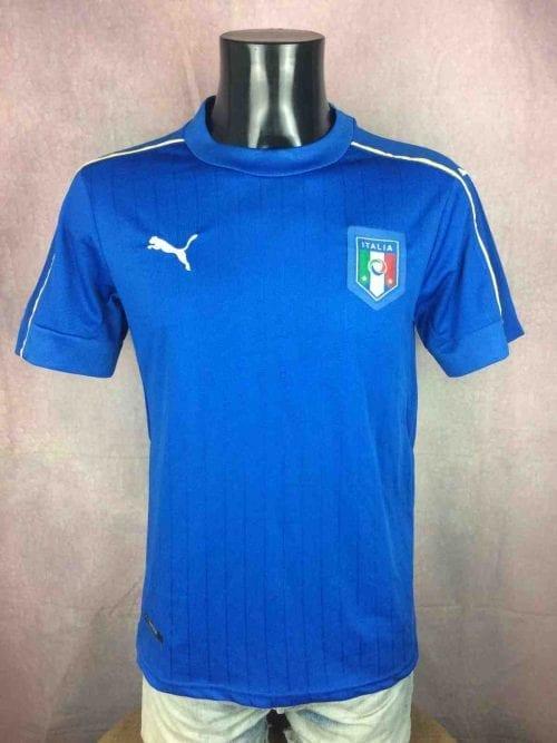 Maillot Italia, Saison 2016 2017, Version Home, de marque Puma, Taille S, Couleur Bleu, Technologie Dry Cell,Euro Cup France Italy Squadra Azzurra Football Homme