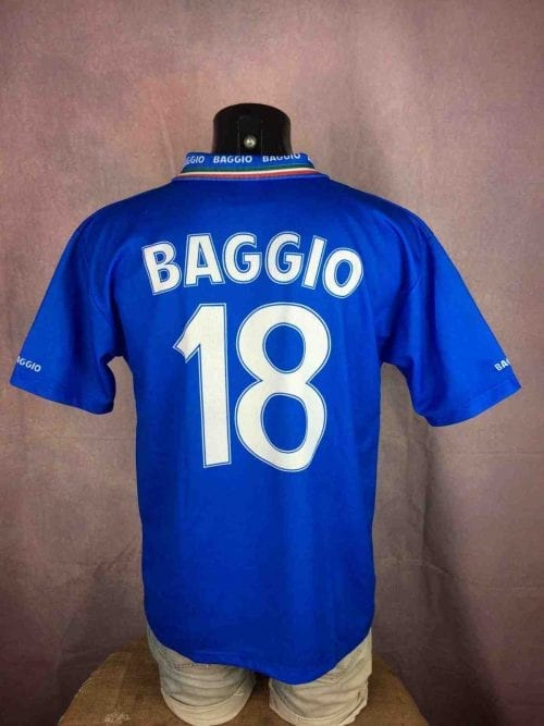 Maillot Italie, Baggio N°18, Vintage Années 90, Made in Italy, Version Home, Taille L, Couleur Bleu, Jersey Italia Italy Football Homme