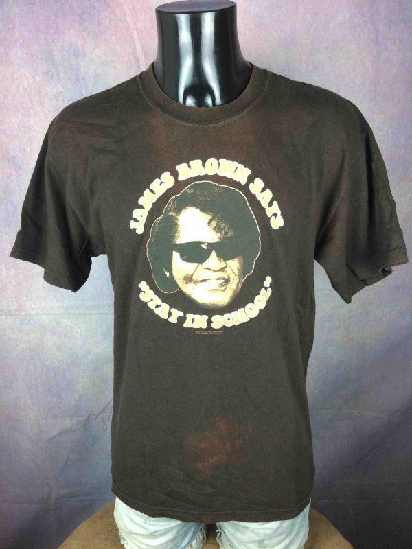 T-Shirt JAMES BROWN, édition Stay In School, double face, Official License, marque Gildan, Véritable vintage 00s, Concert Soul Funk Jazz Mister Dynamite
