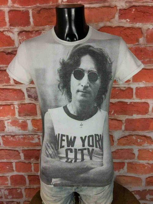 T-Shirt JOHN LENNON, édition New York City, marque Imperial, Made in Italy, Concert Yoko Ono The Beatles Peace
