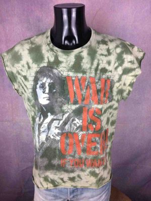 T-Shirt JOHN LENNON, édition War Is Over, Official License, marque Zion Rootswear, Tie Dye camouflage, Concert Ono The Beatles Song