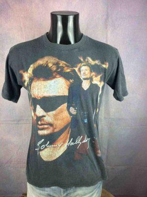 T-Shirt JOHNNY HALLYDAY, édition 1999,double face avec liste des dates au dos, Véritable vintage années 90, Live Concert Rock France