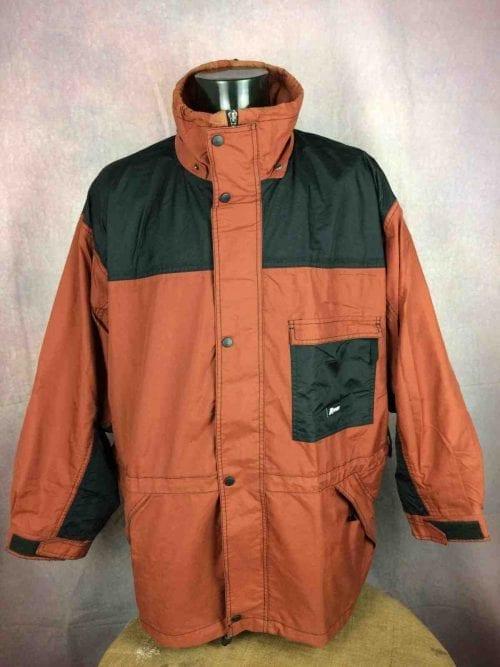 Veste Imperméable K-WAY 2000, Vintage Années 00s, Taille XL, Couleur Marron et noir, Intérieur doublé, Windproof / Waterproof / Sealed Seams / Breathable, Sports Homme