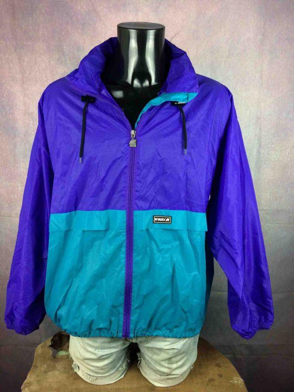 VesteK-WAY International, Véritable vintage années 90s, en Nylon, avec capuche, se roule en boule et se porte à la taille, Imperméable Rain Jacket Y2K