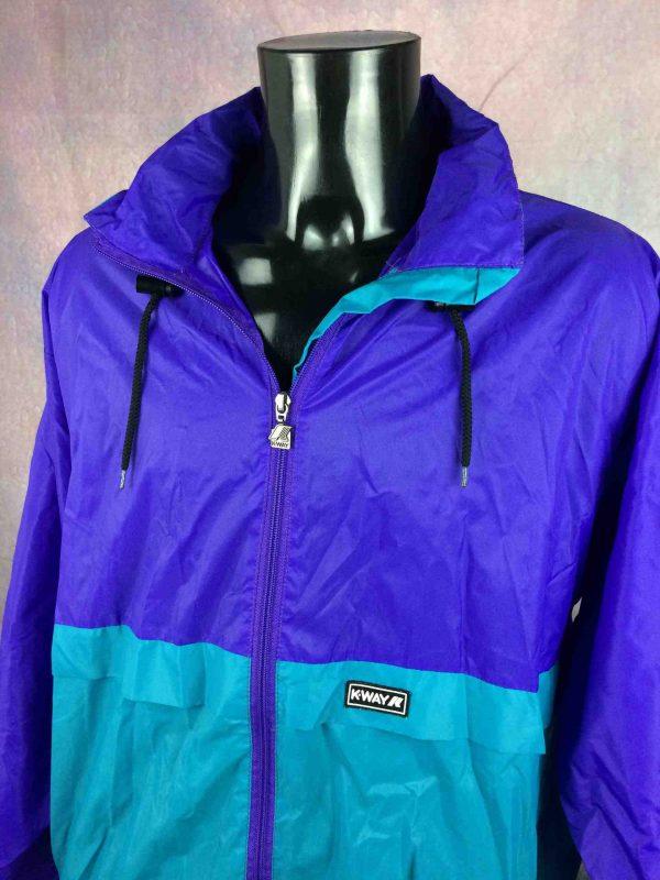 K WAY International Rain Jacket Vintage 90s Gabba Vintage 4 scaled - K-WAY International Veste Impermeable Vintage Années 90s Nylon Capuche