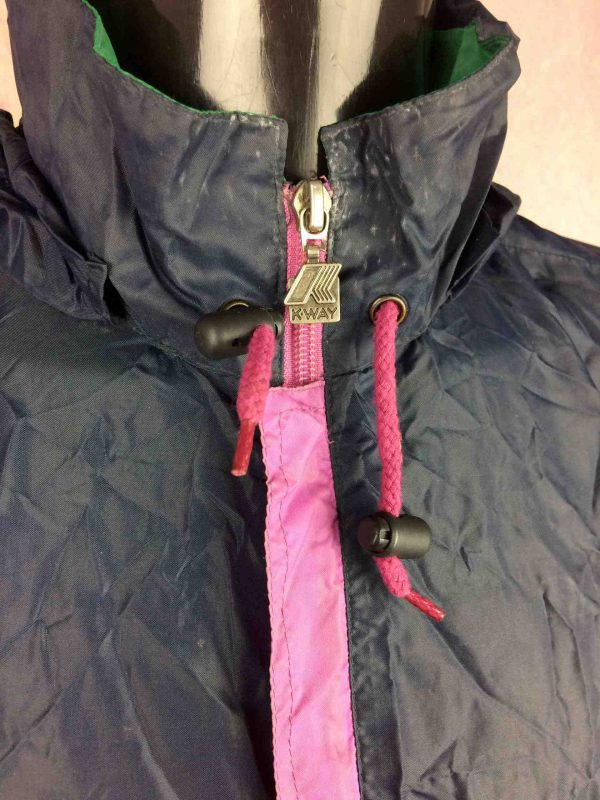 K WAY Rain Jacket Vintage 90s Made in CEE Gabba Vintage 4 scaled - K-WAY Veste Impermeable Vintage 90s Nylon